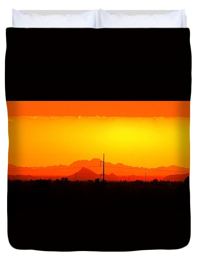 Sunset With Power Pole Duvet Cover featuring the digital art Sunset With Power Pole by Rick Lloyd