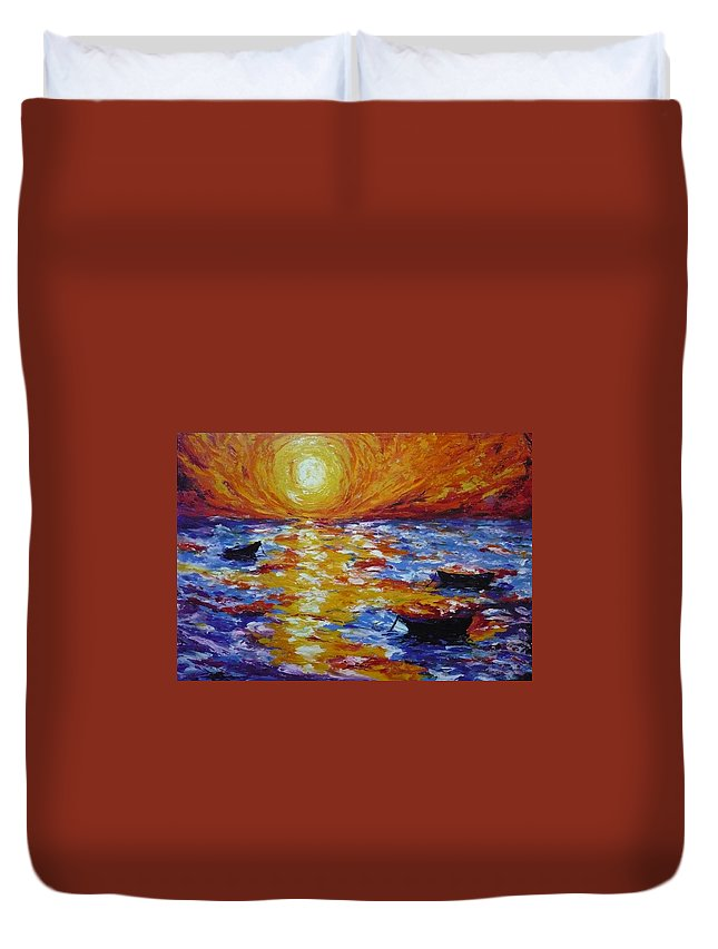 Landscape Duvet Cover featuring the painting Sunset With Three Boats by Ericka Herazo