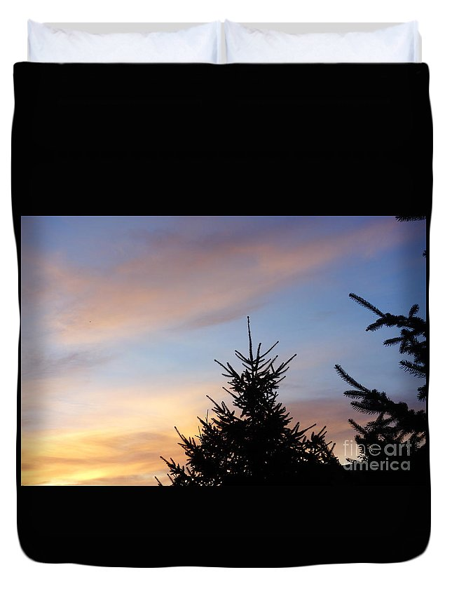 Sunset With Two Pine Trees Duvet Cover featuring the photograph Sunset With Two Pine Trees by Alice Heart