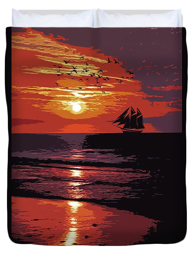 Sea Duvet Cover featuring the painting Sunset - Wonder Of Nature by Andrea Mazzocchetti
