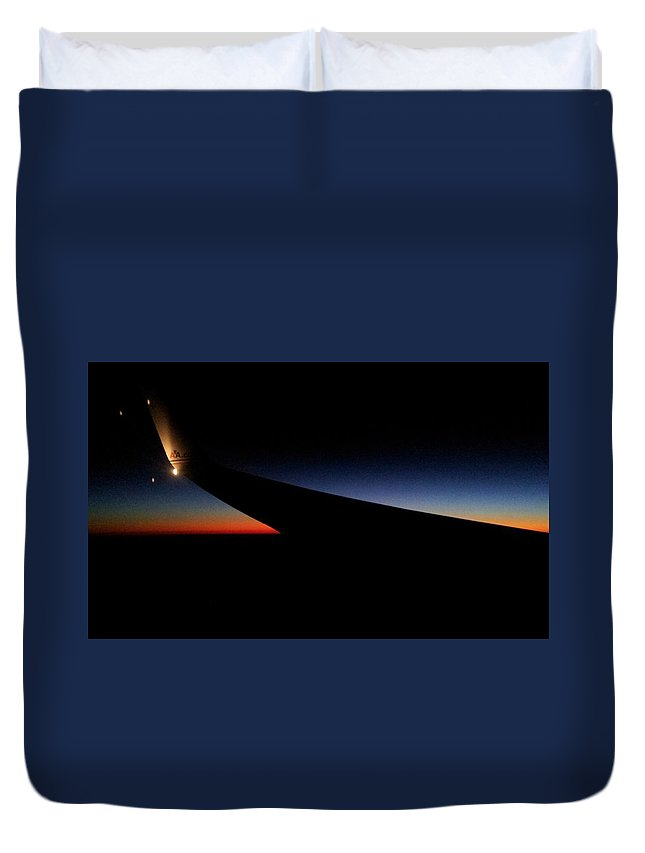 Duvet Cover featuring the photograph sunset,from Plane by W Jeff Gorecki