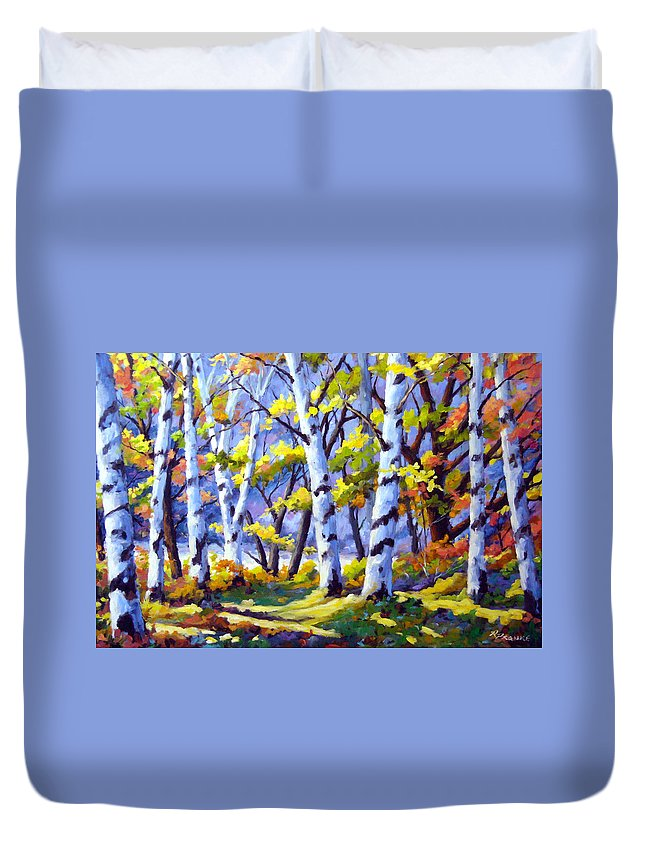 Art Duvet Cover featuring the painting Sunshine And Birches by Richard T Pranke