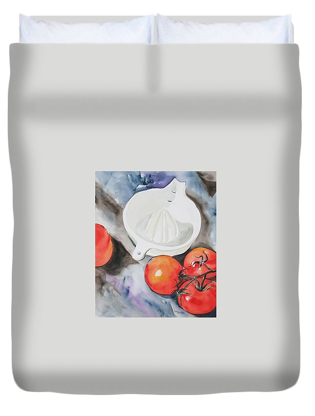Tomatoes Duvet Cover featuring the painting Sunshine On The Vine by Jean Blackmer