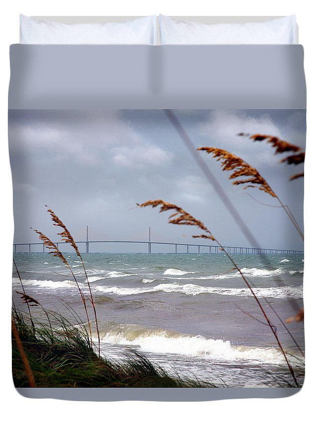 Sunshine Duvet Cover featuring the photograph Sunshine Skyway Bridge Viewed From Fort De Soto Park by Mal Bray