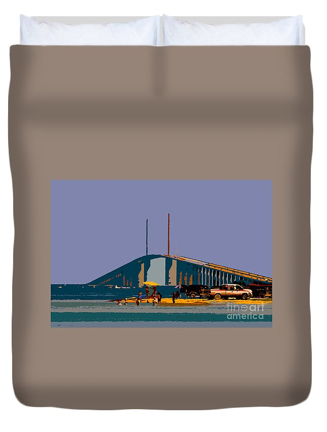 Sunshine Skyway Bridge Duvet Cover featuring the photograph Sunshine Skyway by David Lee Thompson