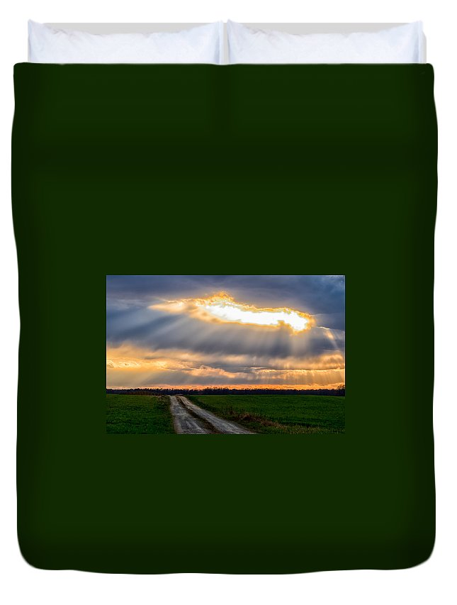 Sunshine Duvet Cover featuring the photograph Sunshine Through The Clouds by Carol Ward