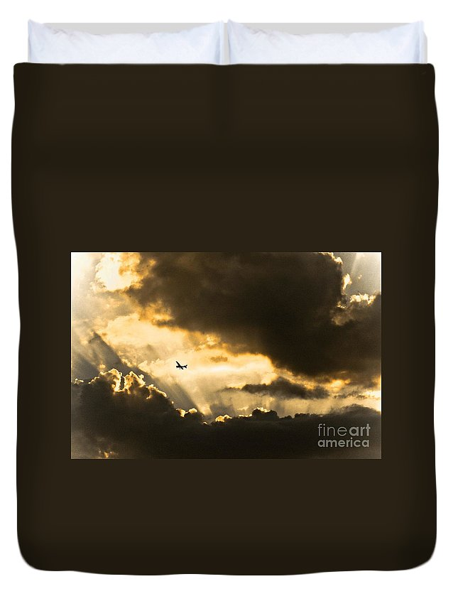 Sunset Duvet Cover featuring the photograph Sunvisors Down by Kim Henderson