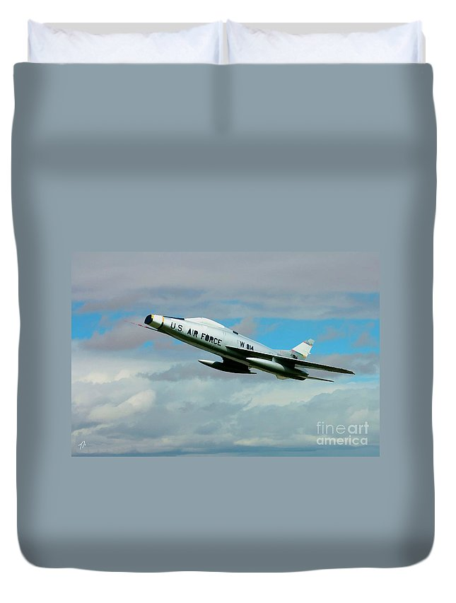 North American Duvet Cover featuring the digital art Super Sabre North American F-100 by Tommy Anderson