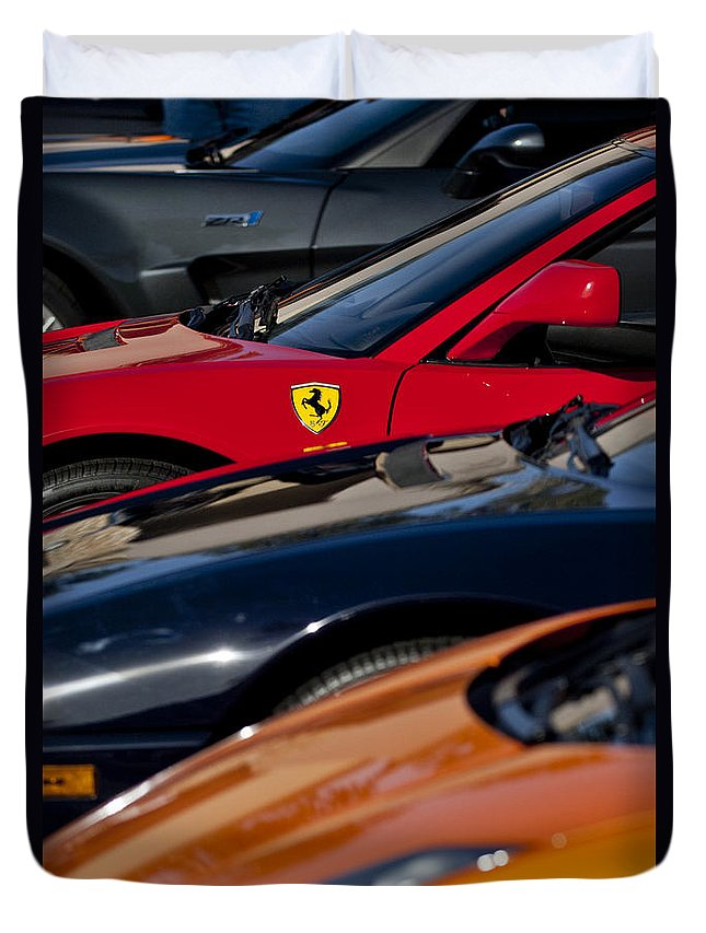 Ferrari Duvet Cover featuring the photograph Supercars Ferrari Emblem by Jill Reger