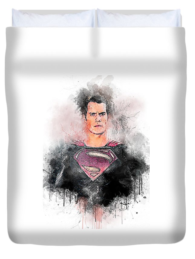Batman Duvet Cover featuring the digital art Superhero by Anna J Davis