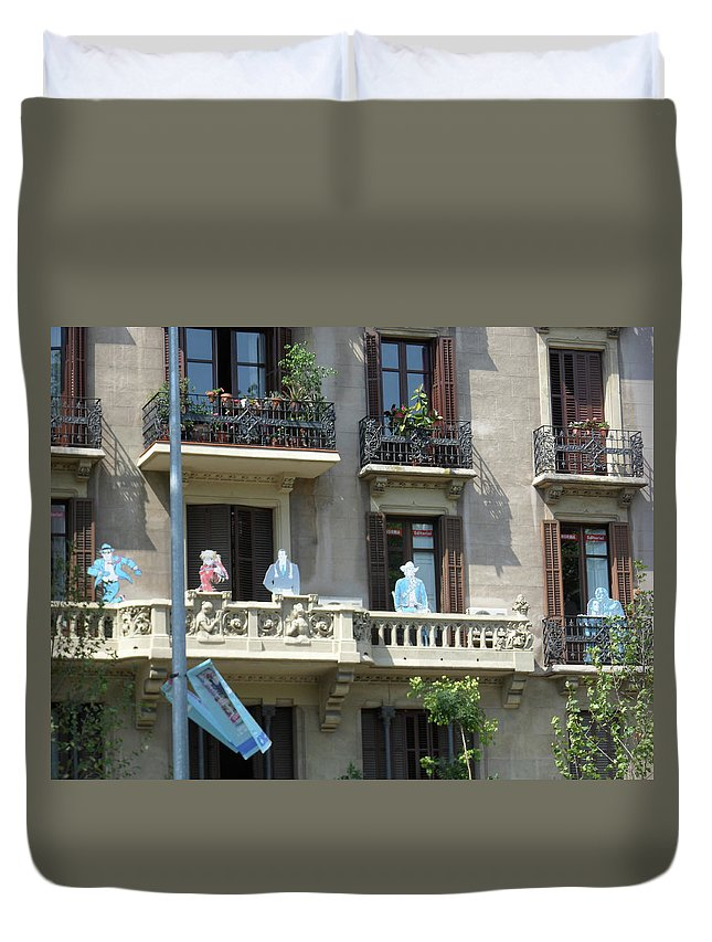 Barcelona Duvet Cover featuring the photograph Superheroes On The Sant Joan by Marwan George Khoury