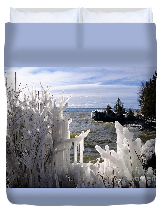 Ice Formations Duvet Cover featuring the photograph Superior Ice Formations by Sandra Updyke