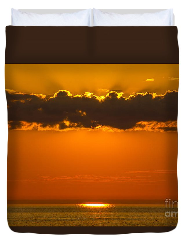 Lake Superior Duvet Cover featuring the photograph Superior Sunset by CJ Benson