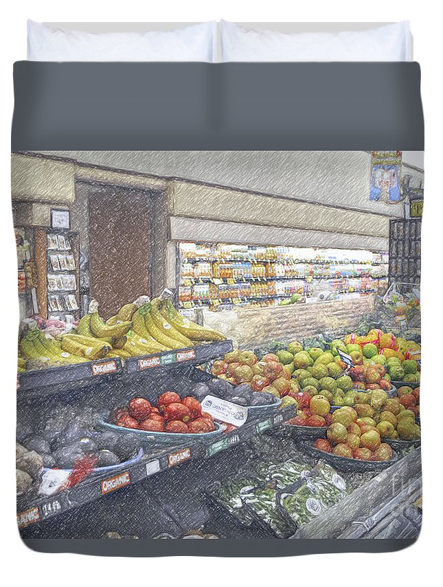 Supermarket Produce Section Duvet Cover featuring the photograph Supermarket Produce Section by David Zanzinger