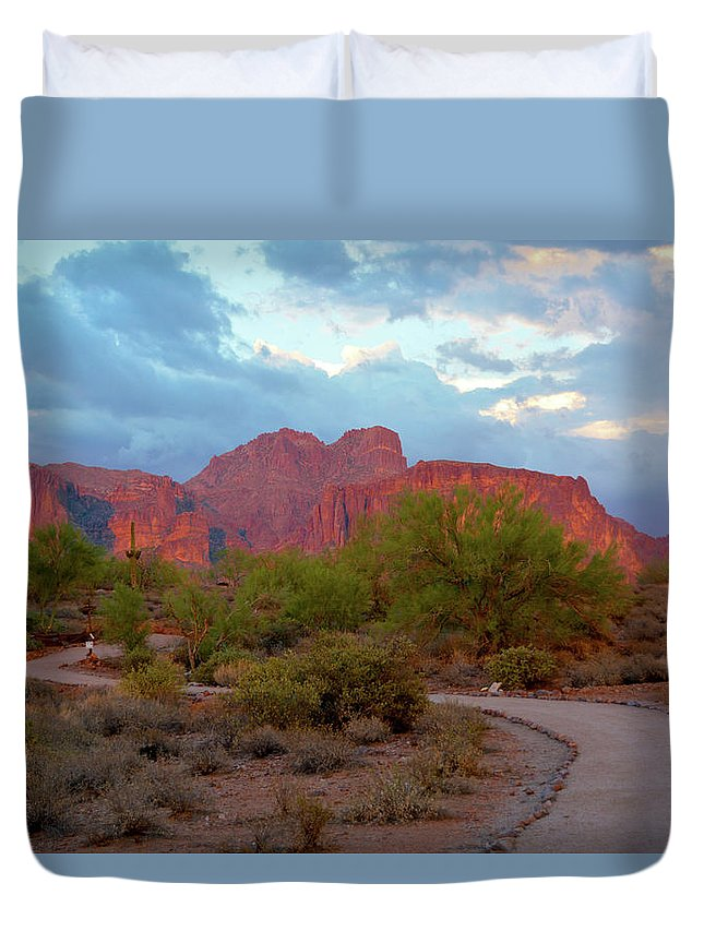 Scenic Duvet Cover featuring the photograph Superstition Mountains Arizona by Richard Jenkins