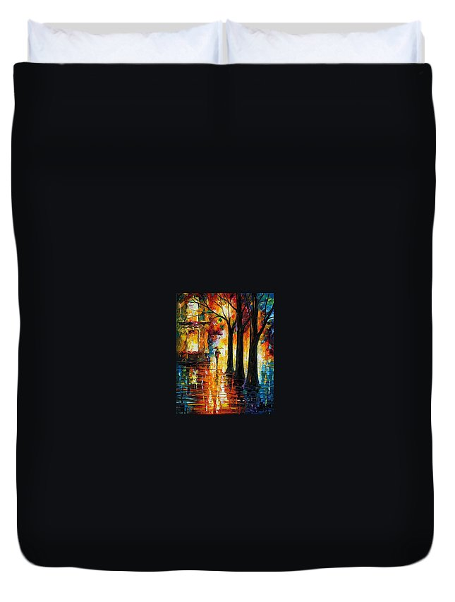 Afremov Duvet Cover featuring the painting Suppressed Memories by Leonid Afremov