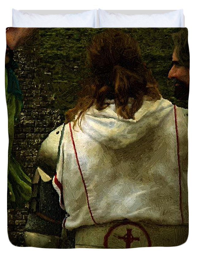 Building Duvet Cover featuring the painting Surely We Can Do Better Man by RC DeWinter