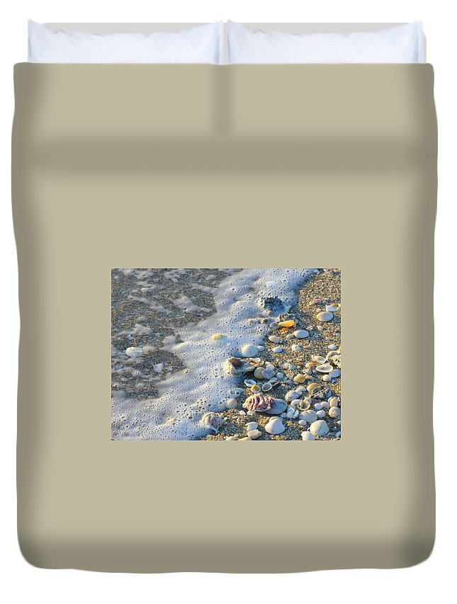 Shells Duvet Cover featuring the photograph Surf And Shells by Peggy King