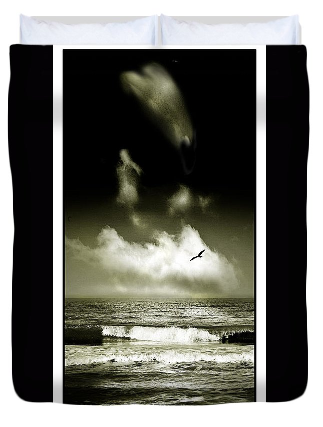 Waves Duvet Cover featuring the photograph Surf And Sky At Rhos On Sea North Wales by Mal Bray