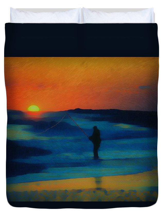 Digital Photograph Duvet Cover featuring the photograph Surf Fishing by David Lane