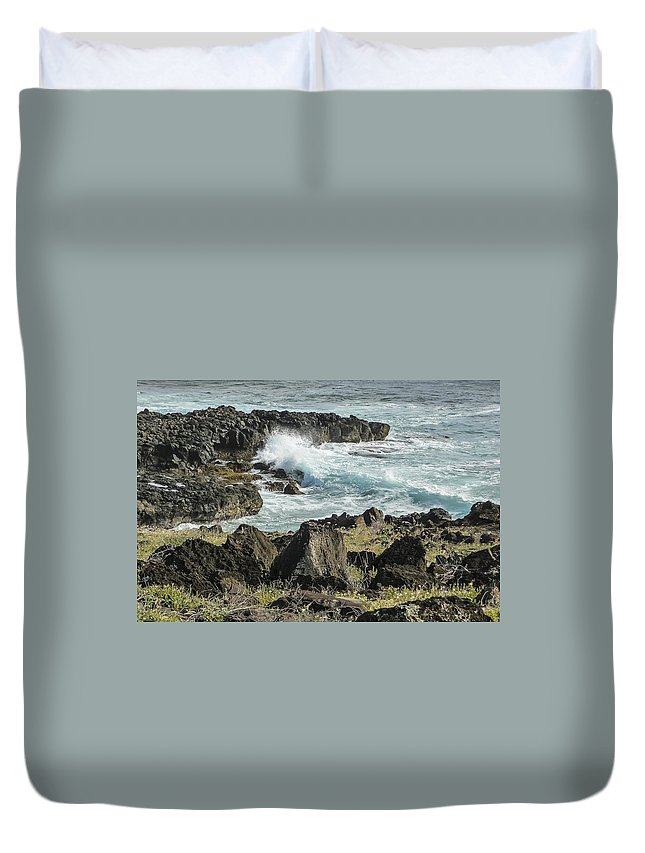 Waves Duvet Cover featuring the photograph Surf Pounding Ohua Coast  by NaturesPix