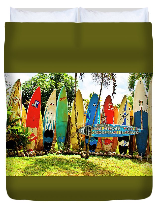 Surfboard Duvet Cover featuring the photograph Surfboard Fence II-the Amazing Race by Jim Cazel