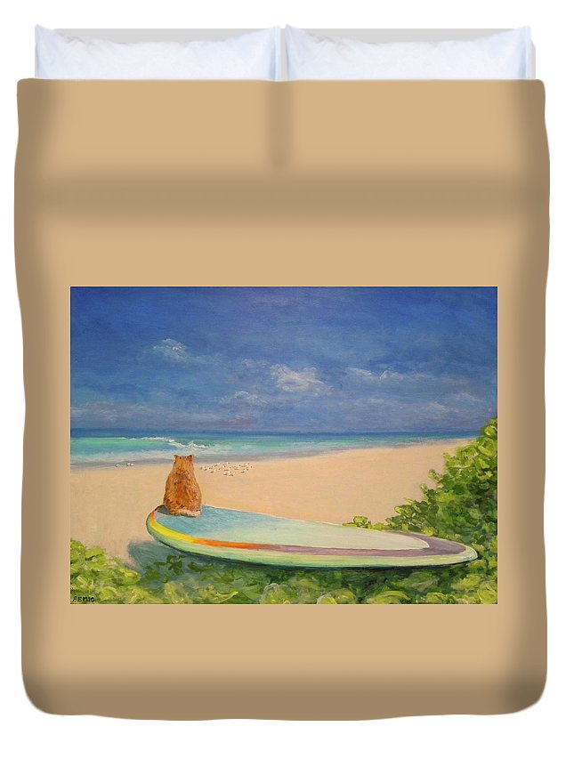 Cat Duvet Cover featuring the painting Surfer Cat by Paul Emig