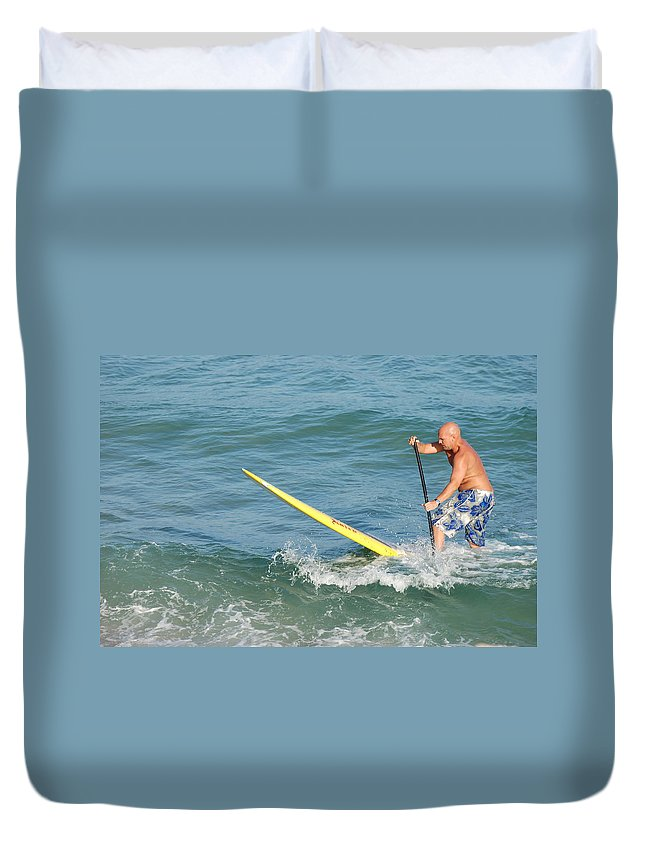 Sea Scape Duvet Cover featuring the photograph Surfer Dude by Rob Hans