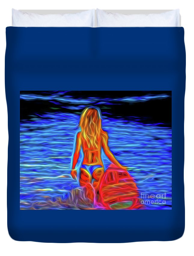 Surfer Girl 13218 Duvet Cover featuring the photograph Surfer Girl 13218 by Ray Shrewsberry