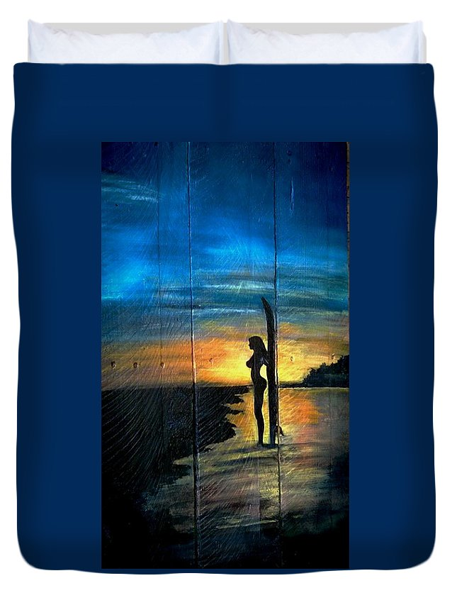 Surfer Duvet Cover featuring the painting Surfer Girl by Ashley Galloway