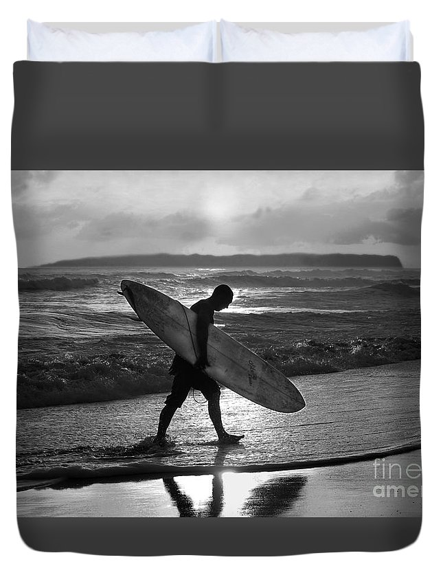 Surfer Duvet Cover featuring the photograph Surfer Heading Home by Catherine Sherman