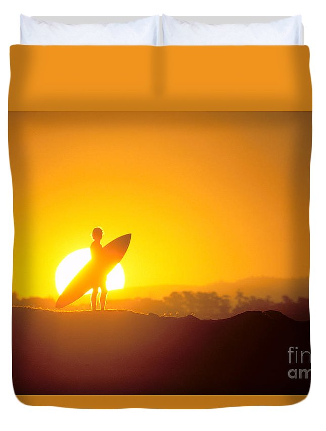 Athlete Duvet Cover featuring the photograph Surfer Silhouetted At Sun by Erik Aeder - Printscapes