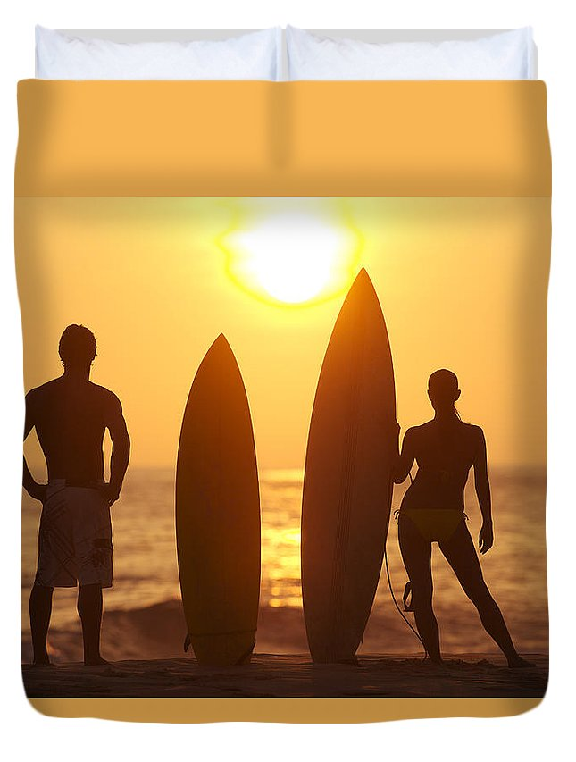 Afternoon Duvet Cover featuring the photograph Surfer Silhouettes by Larry Dale Gordon - Printscapes