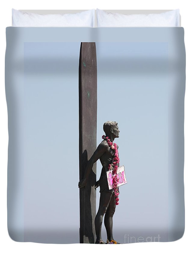 Surfer Statue Duvet Cover featuring the photograph Surfer Statue by Carol Groenen