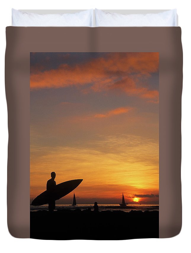 Surfing Duvet Cover featuring the photograph Surfer by Steve Williams