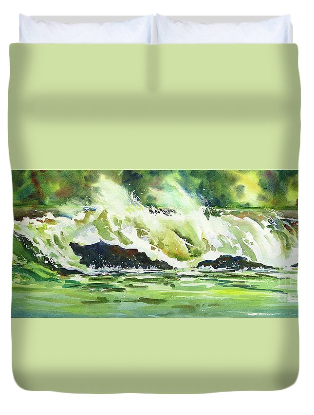 Surf Duvet Cover featuring the painting Surfers Dream by Mohamed Hirji