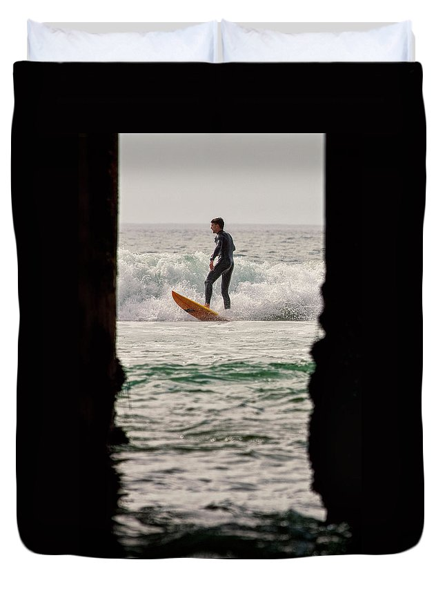 Surfing Duvet Cover featuring the photograph Surfing By The Pier by Nicole Swanger