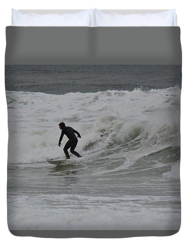 Surfing Duvet Cover featuring the photograph Surfing, N. Hampton Nh by Jo-Ann Matthews