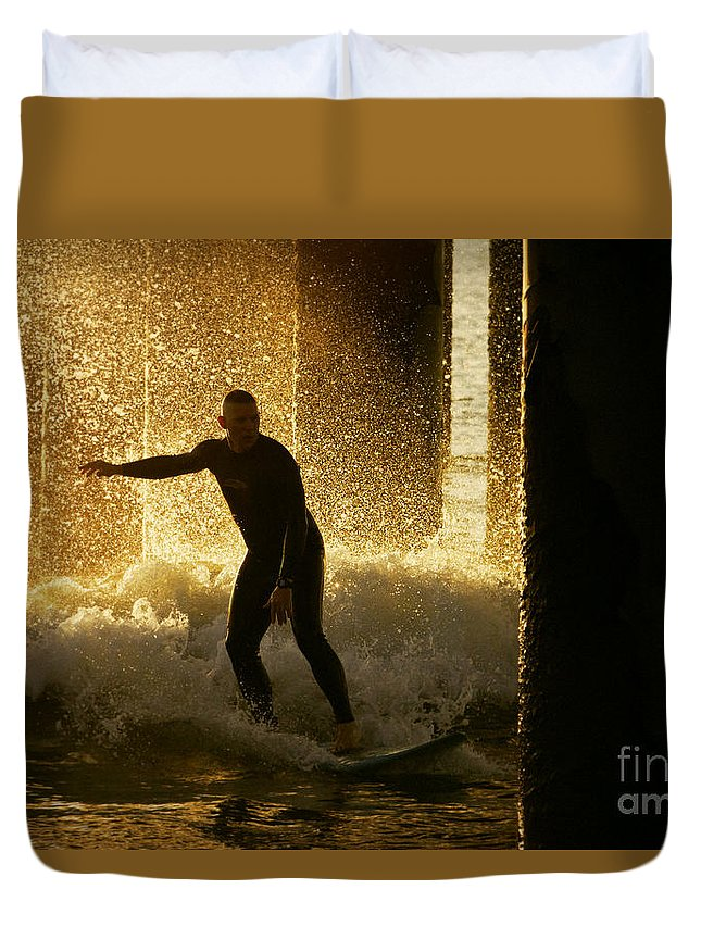 Surfing Duvet Cover featuring the photograph Surfing The Dawn by Tress Chapin