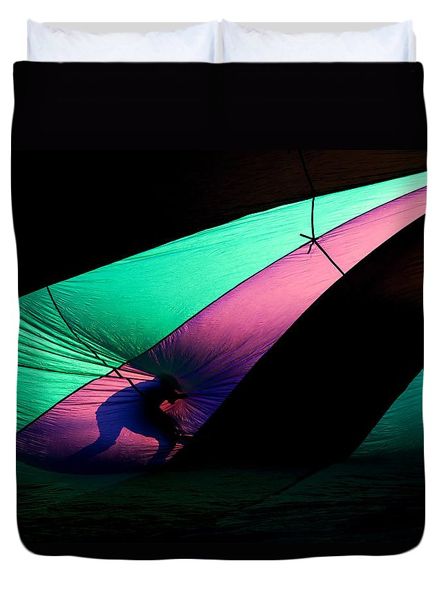 Balloon Duvet Cover featuring the photograph Surfing The Silk by Mike Dawson