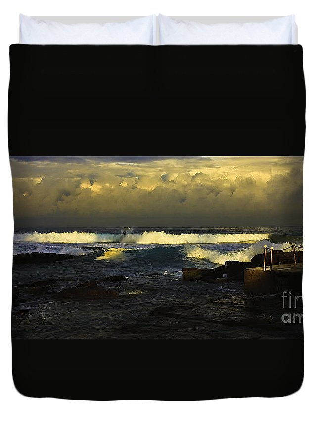 Landscape Seascape Surfing Surfer Storm Duvet Cover featuring the photograph Surfing The Storm by Sheila Smart Fine Art Photography