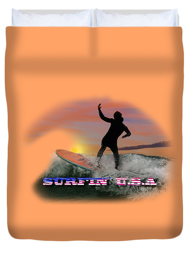Surfing Duvet Cover featuring the photograph Surfing U.s.a. by Rob Lester