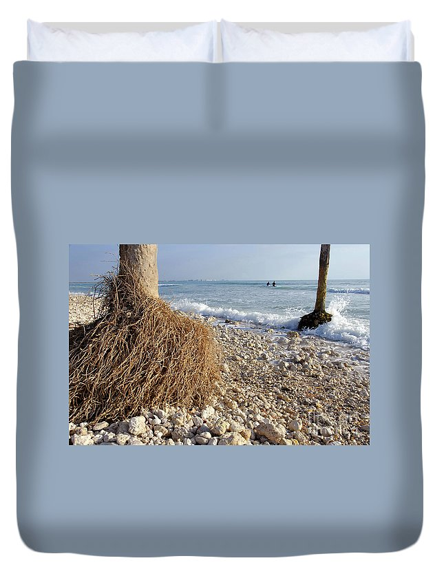 Surfing Duvet Cover featuring the photograph Surfing With Palms by David Lee Thompson