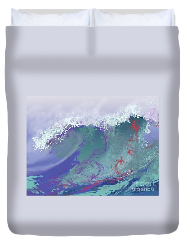 Seascape Duvet Cover featuring the digital art Surf's Up by Jacqueline Shuler