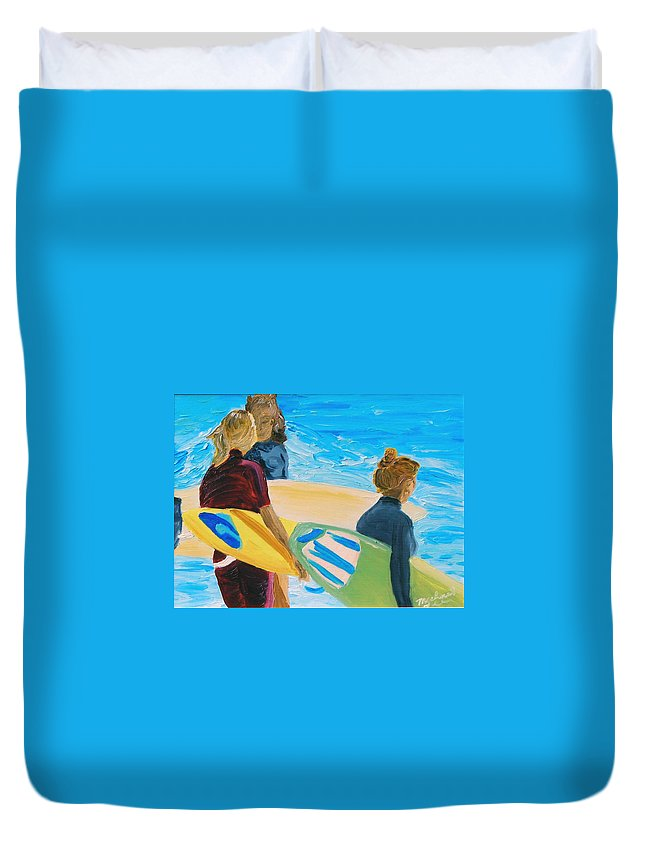 Surfing Duvet Cover featuring the painting Surfs Up by Michael Lee