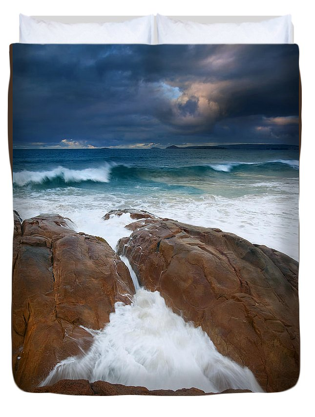 Waves Duvet Cover featuring the photograph Surfs Up by Mike Dawson