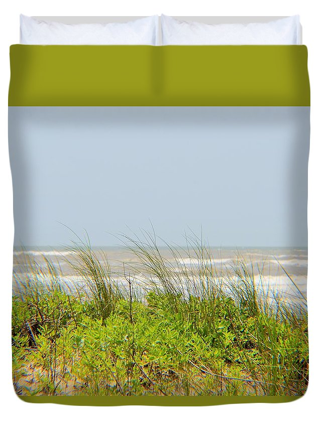 Surfside Beach Duvet Cover featuring the photograph Surfside Dunes by Cynthia Bailey