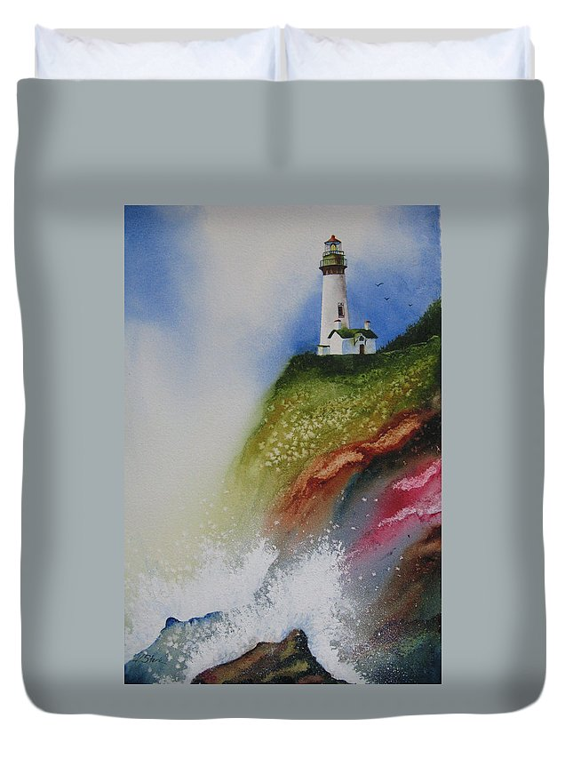 Lighthouse Duvet Cover featuring the painting Surfside by Karen Stark