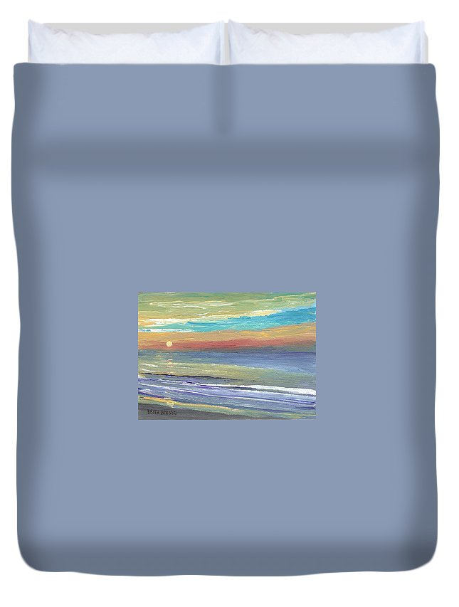 Sunrise Duvet Cover featuring the painting Surfside Sunrise by Keith Wilkie