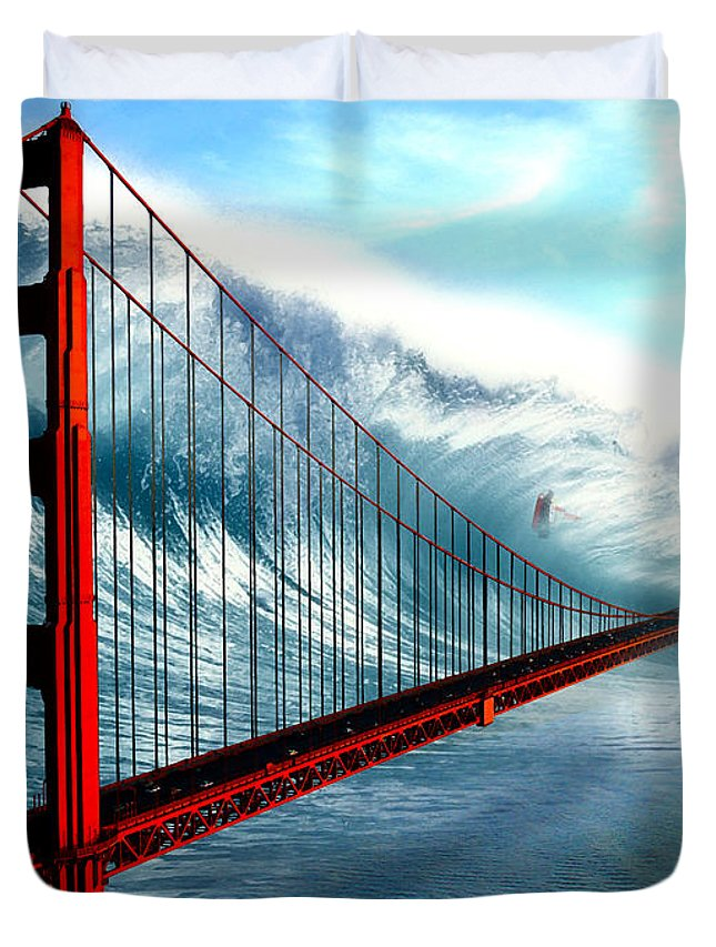 Disaster Duvet Cover featuring the digital art Surge by Russell Clenney